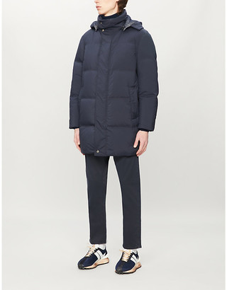 Canali Padded hooded funnel-neck shell-down coat