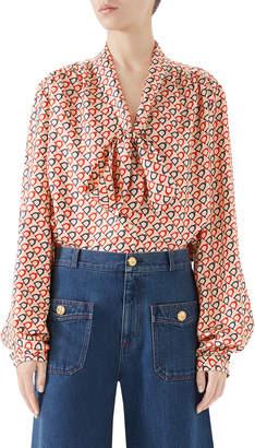 Gucci Tie-Neck Diagonal Stirrup-Print Twill Shirt