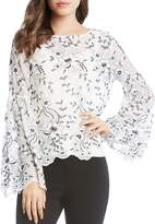 Karen Kane Embroidered Bell Sleeve Blouse