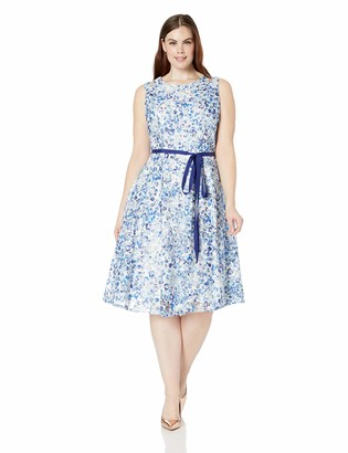 Gabby Skye Women's Plus Size Floral Printed Belted Lace Fit and Flare Dress