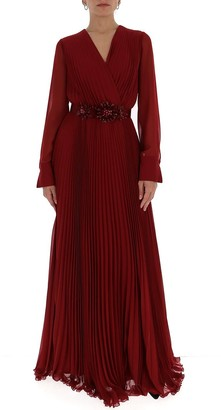 Max Mara Jewelled Waist Belt Pleated Maxi Dress