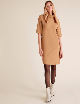 Marks and Spencer Cotton High Neck Mini T-Shirt Dress