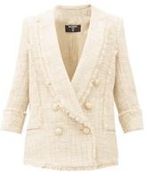 Balmain Double-breasted Cotton-blend Tweed Jacket - Womens - Beige Multi