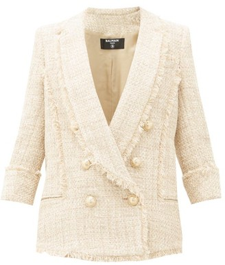 Balmain Double-breasted Cotton-blend Tweed Jacket - Womens - Beige Multi