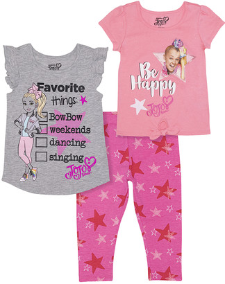 Jo-Jo JoJo Girls' Leggings - JoJo Siwa Pink 'Be Happy' Star Knot-Hem Tee Set - Girls