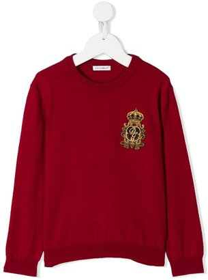 Dolce & Gabbana Kids Crest Embroidered Sweater