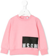 MSGM glitter logo panel sweatshirt - kids - Cotton/Spandex/Elastane - 9 mth