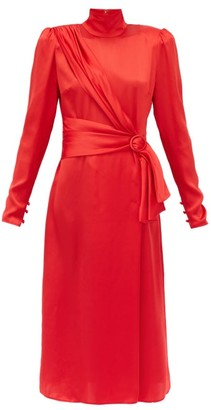 Alessandra Rich Gathered Silk-satin Dress - Red