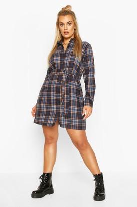 boohoo Plus Check Belted Oversized Shirt Dress