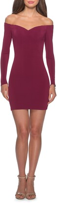 La Femme Off the Shoulder Long Sleeve Body-Con Minidress