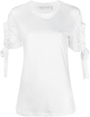 Victoria Victoria Beckham ruched cut out sleeve T-shirt