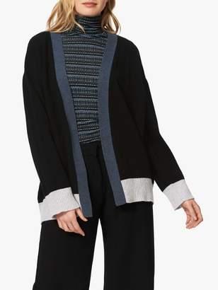 Brora Cashmere Block Colour Cardigan, Black