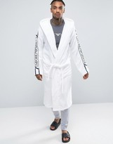 Emporio Armani Logo Hooded Robe In White