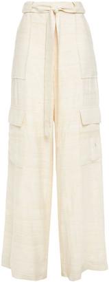 Oscar de la Renta Belted Silk-shantung Wide-leg Pants