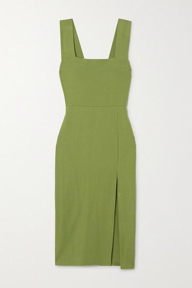 Reformation Cassi Ribbed Stretch-tencel Midi Dress - Green