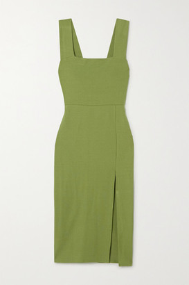 Reformation Cassi Ribbed Stretch-tencel Midi Dress - Green