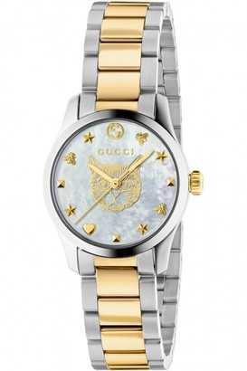 Gucci G-Timeless Watch with a Steel and yellow gold PVD case, white mother of pearl dial with feline head motif and a steel and yellow gold PVD bracelet YA1265012