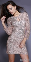 Kim Kiran Dazzling 3/4 Sleeve Fully Sequin Keyhole Cocktail Dress