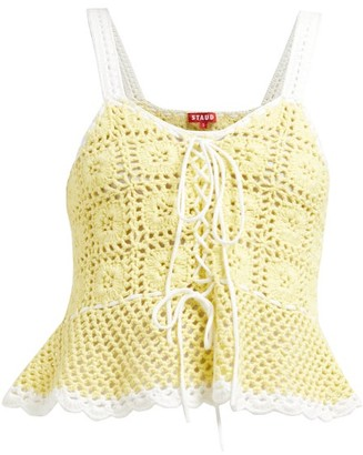 STAUD Shrimp Lace-up Cotton-crochet Peplum Top - Womens - Yellow
