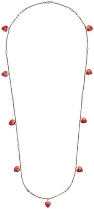 Gucci Necklace with Interlocking G enamel hearts