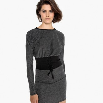 La Redoute Collections Striped Metallic Corset Dress