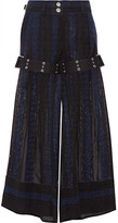 Sacai Crochet And Chiffon Wide-leg Pants - Black