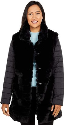 Tribal Fur Coat with Removable Sleeves (Black) Women's Coat
