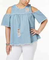 Say What Trendy Plus Size Ripped Cold-Shoulder Top