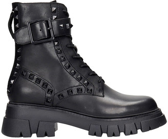 Ash Lewiss Combat Boots In Black Leather