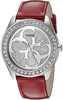 GUESS Women's Stainless Steel Crystal Leather Casual Watch