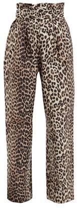 Ganni Paperbag-waist Leopard-jacquard Twill Trousers - Leopard