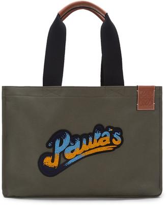 Loewe + Paula's Ibiza Logo-Appliqued Leather-Trimmed Canvas Tote Bag