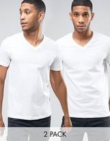 Levis V-neck T-shirt In 2 Pack White