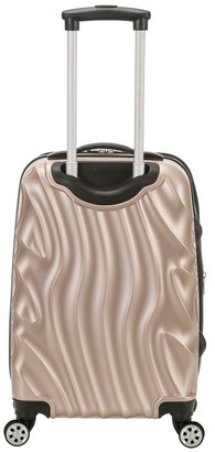 "Rockland Melbourne 20"" Expandable ABS Carry On Spinner Suitcase - Gold Wave Pattern"