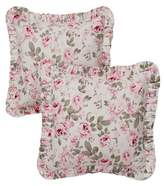 "Rosalie Simply Shabby Chic Pink Floral Print Ruffled Throw Pillow Cover (16""x16"") 2 Piece - Simply Shabby Chic"