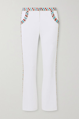 Balmain Cropped Crystal-embellished Stretch-crepe Flared Pants - White