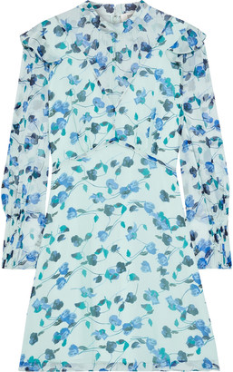Diane von Furstenberg Elinor Ruffled Floral-print Silk-georgette Mini Dress