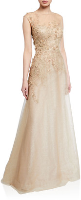 Rickie Freeman For Teri Jon Embellished Bateau-Neck Cap-Sleeve A-Line Dress