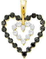 DazzlingRock Collection 0.68 Carat (ctw) 14k Yellow Gold Round & White Diamond Ladies Heart Pendant