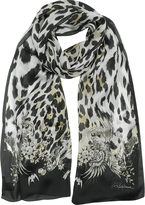 Roberto Cavalli Natural Black Pattern and Leopard Print Silk Stole