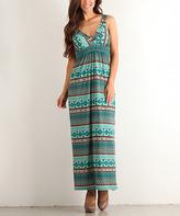 Aqua Geometric Maxi Dress