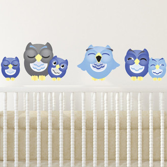 Sunny Decals Sleepy Owl Fabric Wall Decals, Set of 6 Owls, Blue, Size Large