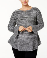 Style&Co. Style & Co Plus Size Marled Ruffled Sweater, Created for Macy's