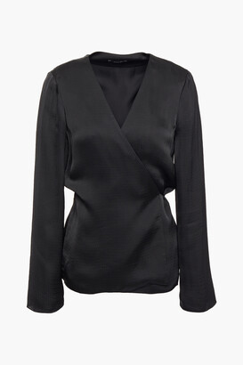 Theory Hammered-satin Wrap Top