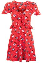Topshop Red spot floral tea dress