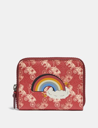 Coach Small Zip Around Wallet With Horse And Carriage Print And Rainbow