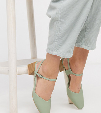 Raid Exclusive Demi mid heel shoes with square toe in sage green croc
