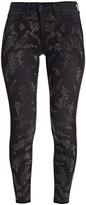 L'Agence Margot Leopard Crystal Skinny Jeans