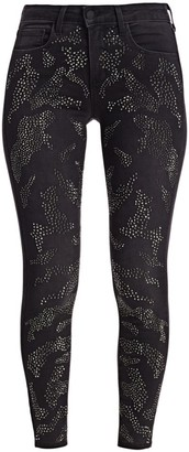 L'Agence Margot High-Rise Ankle Skinny Leopard Crystal-Trim Jeans
