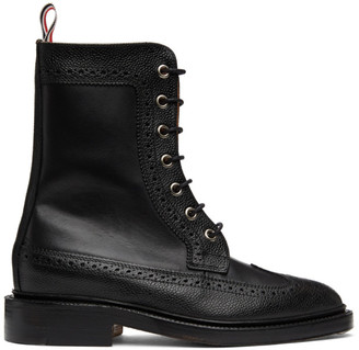 Thom Browne Online Exclusive Black Pebble Mix Longwing Boot